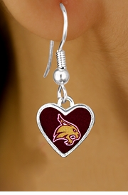 "<Br>            LEAD & NICKEL FREE!!<Br>      STERLING SILVER PLATED!!<bR>    W13363E - LICENSED TEXAS<Br> STATE UNIVERSITY ""BOBCATS""<Br>HEART WITH MASCOT EARRINGS<bR>                  AS LOW AS $3.65"