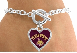 "<Br>              LEAD & NICKEL FREE!!<Br>        STERLING SILVER PLATED!!<bR>      W13364B - LICENSED TEXAS<Br>    STATE UNIVERSITY ""BOBCATS""<Br>HEART BRACELET AS LOW AS $3.65"