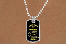 "<Br>                  LEAD & NICKEL FREE!!<Br>            STERLING SILVER PLATED!!<bR>W13408N - LICENSED EMPORIA STATE<Br>     UNIVERSITY ""HORNETS"" DOG TAG<BR>     LOGO NECKLACE AS LOW AS $3.50"