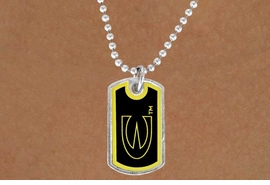 "<Br>                  LEAD & NICKEL FREE!!<Br>            STERLING SILVER PLATED!!<bR>W13409N - LICENSED EMPORIA STATE<Br>     UNIVERSITY ""HORNETS"" DOG TAG<BR>     LOGO NECKLACE AS LOW AS $3.50"