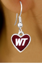 """<Br>             LEAD & NICKEL FREE!!<Br>        STERLING SILVER PLATED!!<bR>W13453E - LICENSED WEST TEXAS<Br>  A&M UNIVERSITY """"BUFFALOES""""<BR>LOGO EARRINGS AS LOW AS $3.65"""