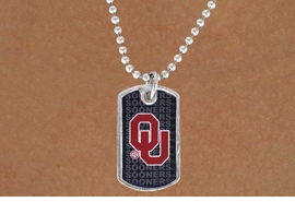 "<Br>               LEAD & NICKEL FREE!!<Br>          STERLING SILVER PLATED!!<bR>   W13474N - LICENSED UNIVERSITY<Br>OF OKLAHOMA ""SOONERS"" DOG TAG<br>MASCOT NECKLACE AS LOW AS $3.50"