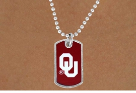 "<Br>               LEAD & NICKEL FREE!!<Br>          STERLING SILVER PLATED!!<bR>   W13476N - LICENSED UNIVERSITY<Br>OF OKLAHOMA ""SOONERS"" DOG TAG<br>MASCOT NECKLACE AS LOW AS $3.50"
