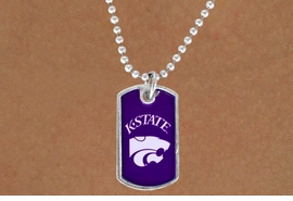 "<Br>           LEAD & NICKEL FREE!!<Br>     STERLING SILVER PLATED!!<bR> W13502N - LICENSED KANSAS<Br>STATE UNIVERSITY ""WILDCATS""<br>   DOG TAG MASCOT NECKLACE<br>                 AS LOW AS $3.50"