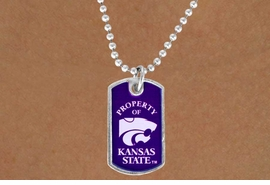 "<Br>           LEAD & NICKEL FREE!!<Br>     STERLING SILVER PLATED!!<bR> W13504N - LICENSED KANSAS<Br>STATE UNIVERSITY ""WILDCATS""<br>   DOG TAG MASCOT NECKLACE<br>                 AS LOW AS $3.50"