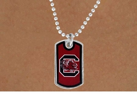 "<Br>                 LEAD & NICKEL FREE!!<Br>           STERLING SILVER PLATED!!<bR>   W13696N - LICENSED UNIVERSITY<Br> OF SOUTH CAROLINA ""GAMECOCKS""<bR>LOGO & MASCOT DOG TAG NECKLACE<Br>                      AS LOW AS $3.50"