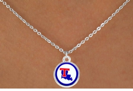 <Br>               LEAD & NICKEL FREE!!<Br>         STERLING SILVER PLATED!!<bR>   W13700N - LICENSED LOUISIANA<BR>TECH UNIVERSITY BULLDOGS LOGO<Br>        NECKLACE AS LOW AS $3.65