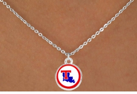 <Br>               LEAD & NICKEL FREE!!<Br>         STERLING SILVER PLATED!!<bR>   W13702N - LICENSED LOUISIANA<BR>TECH UNIVERSITY BULLDOGS LOGO<Br>        NECKLACE AS LOW AS $3.65