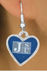 "<Br>              LEAD & NICKEL FREE!!<Br>        STERLING SILVER PLATED!!<bR>    W13736E - LICENSED JACKSON<Br>STATE UNIVERSITY ""TIGERS"" LOGO<Br>HEART EARRINGS AS LOW AS $3.65"