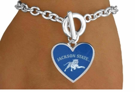 "<Br>             LEAD & NICKEL FREE!!<Br>        STERLING SILVER PLATED!!<bR>    W13737B - LICENSED JACKSON<Br>STATE UNIVERSITY ""TIGERS"" LOGO<Br>HEART BRACELET AS LOW AS $3.65"