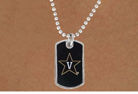 """<Br>                 LEAD & NICKEL FREE!!<Br>            STERLING SILVER PLATED!!<bR>    W13750N - LICENSED VANDERBILT<Br>   UNIVERSITY """"COMMODORES""""  DOG<bR>TAG LOGO NECKLACE AS LOW AS $3.50"""
