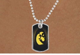 "<Br>             LEAD & NICKEL FREE!!<Br>       STERLING SILVER PLATED!!<bR>W13768N - LICENSED UNIVERSITY<Br> OF IOWA ""HAWKEYES""  DOG TAG<BR>LOGO NECKLACE AS LOW AS $3.50"