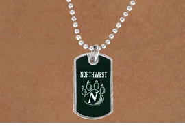 """<Br>             LEAD & NICKEL FREE!!<Br>       STERLING SILVER PLATED!!<bR>W13787N - LICENSED NORTHWEST<Br>     MISSOURI STATE UNIVERSITY<Br>      """"BEARCATS"""" DOG TAG LOGO<BR>       NECKLACE AS LOW AS $3.50"""