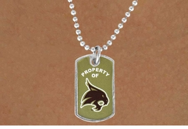 "<Br>               LEAD & NICKEL FREE!!<Br>         STERLING SILVER PLATED!!<bR>W13807N - LICENSED TEXAS STATE<Br> UNIVERSITY ""BOBCATS"" DOG TAG<BR> LOGO NECKLACE AS LOW AS $3.50"