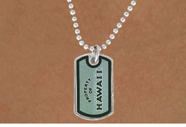 """<Br>             LEAD & NICKEL FREE!!<Br>       STERLING SILVER PLATED!!<bR>W13812N - LICENSED UNIVERSITY<Br>OF HAWAII """"WARRIORS"""" DOG TAG<BR>LOGO NECKLACE AS LOW AS $3.50"""