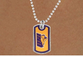 """<Br>             LEAD & NICKEL FREE!!<Br>       STERLING SILVER PLATED!!<bR>W13821N - LICENSED UNIVERSITY<Br>OF NORTHERN IOWA """"PANTHERS""""<BR>        DOG TAG LOGO NECKLACE<Br>                   AS LOW AS $3.50"""