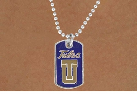"""<Br>             LEAD & NICKEL FREE!!<Br>       STERLING SILVER PLATED!!<bR>W13823N - LICENSED UNIVERSITY<Br> OF TULSA """"GOLDEN HURRICANE""""<BR>        DOG TAG LOGO NECKLACE<Br>                  AS LOW AS $3.50"""