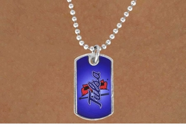 """<Br>             LEAD & NICKEL FREE!!<Br>       STERLING SILVER PLATED!!<bR>W13824N - LICENSED UNIVERSITY<Br> OF TULSA """"GOLDEN HURRICANE""""<BR>        DOG TAG LOGO NECKLACE<Br>                  AS LOW AS $3.50"""