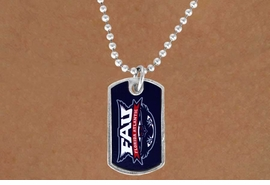"<Br>         LEAD & NICKEL FREE!!<Br>    STERLING SILVER PLATED!!<bR>W13973N - LICENSED FLORIDA<Br>ATLANTIC UNIVERSITY ""OWLS""<bR>     DOG TAG LOGO NECKLACE<Br>               AS LOW AS $3.50"