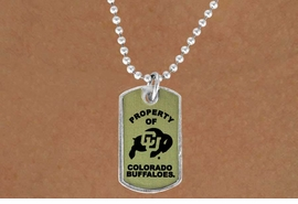 """<Br>               LEAD & NICKEL FREE!!<Br>         STERLING SILVER PLATED!!<bR>   W13983N - LICENSED COLORADO<Br>UNIVERSITY """"BUFFALOES"""" DOG TAG<bR>  LOGO NECKLACE AS LOW AS $1.99"""