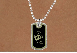 """<Br>                LEAD & NICKEL FREE!!<Br>          STERLING SILVER PLATED!!<bR>   W13984N - LICENSED COLORADO<Br>UNIVERSITY """"BUFFALOES"""" DOG TAG<bR>  LOGO NECKLACE AS LOW AS $1.99"""