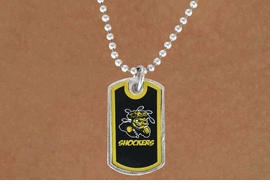 "<Br>                  LEAD & NICKEL FREE!!<Br>            STERLING SILVER PLATED!!<bR>W13990N - LICENSED WICHITA STATE<Br>  UNIVERSITY ""SHOCKERS""  DOG TAG<bR>    LOGO NECKLACE AS LOW AS $3.50"