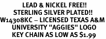 "<Br>               LEAD & NICKEL FREE!!<Br>         STERLING SILVER PLATED!!<bR>W14308KC - LICENSED TEXAS A&M<Br>        UNIVERSITY ""AGGIES"" LOGO<Br>        KEY CHAIN AS LOW AS $1.99"