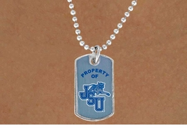 "<Br>                LEAD & NICKEL FREE!!<Br>           STERLING SILVER PLATED!!<bR>W14339N - LICENSED JACKSON STATE<Br>       UNIVERSITY ""TIGERS"" DOG TAG<bR>    LOGO NECKLACE AS LOW AS $3.50"