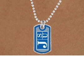 "<Br>                LEAD & NICKEL FREE!!<Br>           STERLING SILVER PLATED!!<bR>W14340N - LICENSED JACKSON STATE<Br>       UNIVERSITY ""TIGERS"" DOG TAG<bR>    LOGO NECKLACE AS LOW AS $3.50"