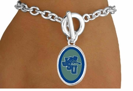 "<Br>             LEAD & NICKEL FREE!!<Br>        STERLING SILVER PLATED!!<bR>   W15296B - LICENSED JACKSON<Br>STATE UNIVERSITY ""TIGERS"" LOGO<Br>   BRACELET FROM $3.94 TO $8.75"