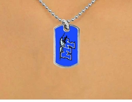 <Br>             LEAD & NICKEL FREE!!<Br>       STERLING SILVER PLATED!!<bR>   W15615N - LICENSED MIDDLE<Br>  TENNESSEE STATE UNIVERSITY<Br>  BLUE RAIDERS DOG TAG LOGO<bR>NECKLACE FROM $3.94 TO $8.75