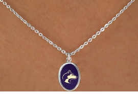 "<Br>               LEAD & NICKEL FREE!!<Br>         STERLING SILVER PLATED!!<bR> W16665N - LICENSED UNIVERSITY<Br>OF WASHINGTON ""HUSKIES"" LOGO<Br>   NECKLACE FROM $3.94 TO $8.75"