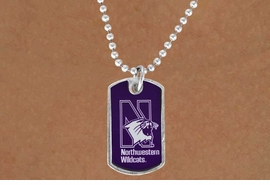 "<Br>                    LEAD & NICKEL FREE!!<Br>              STERLING SILVER PLATED!!<bR>W16896N - LICENSED NORTHWESTERN<Br>     UNIVERSITY ""WILDCATS"" DOG TAG<Br>        NECKLACE FROM $3.94 TO $8.75"