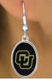 """<Br>            LEAD & NICKEL FREE!!<Br>      STERLING SILVER PLATED!!<bR>W16959E - LICENSED COLORADO<br>UNIVERSITY """"BUFFALOES"""" LOGO<Br> EARRINGS FROM $1.99"""