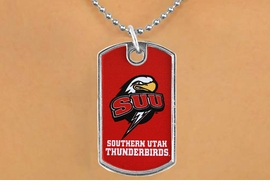 "<Br>                LEAD & NICKEL FREE!!<Br>          STERLING SILVER PLATED!!<bR>   W16989N - LICENSED SOUTHERN<Br>UTAH UNIVERSITY ""THUNDERBIRDS""<Br>          DOG TAG NECKLACE FROM<Br>                      $3.94 TO $8.75"