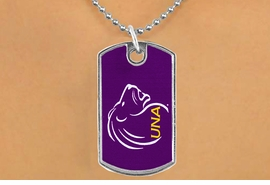 "<Br>              LEAD & NICKEL FREE!!<Br>        STERLING SILVER PLATED!!<bR>W17006N - LICENSED UNIVERSITY<Br>     OF NORTH ALABAMA ""LIONS""<bR>        DOG TAG NECKLACE FROM<br>                    $1.99"