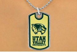 "<Br>                LEAD & NICKEL FREE!!<Br>          STERLING SILVER PLATED!!<bR>         W17021N - LICENSED UTAH<Br>VALLEY UNIVERSITY ""WOLVERINES""<br>          DOG TAG NECKLACE FROM <Br>                      $3.94 TO $8.75"