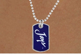 "<Br>              LEAD & NICKEL FREE!!<Br>        STERLING SILVER PLATED!!<bR> W17036N - LICENSED CREIGHTON<Br>UNIVERSITY ""BLUEJAYS"" DOG TAG<br>  NECKLACE FROM $3.94 TO $8.75"