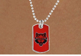 "<Br>             LEAD & NICKEL FREE!!<Br>       STERLING SILVER PLATED!!<bR> W17088N - LICENSED ARKANSAS<Br>STATE UNIVERSITY ""RED WOLVES""<Br>         ""LIONS"" DOG TAG LOGO<BR> NECKLACE FROM $1.99"