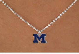 "<Br>               LEAD & NICKEL FREE!!<Br>         STERLING SILVER PLATED!!<bR> W17089N - LICENSED UNIVERSITY<Br>      OF MICHIGAN ""WOLVERINES""<Br>   NECKLACE FROM $3.94 TO $8.75"
