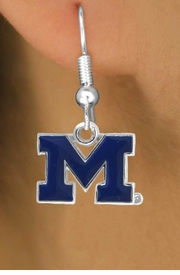 "<Br>                LEAD & NICKEL FREE!!<Br>          STERLING SILVER PLATED!!<bR>  W17090E - LICENSED UNIVERSITY<Br>       OF MICHIGAN ""WOLVERINES""<Br>    EARRINGS FROM $3.94 TO $8.75"