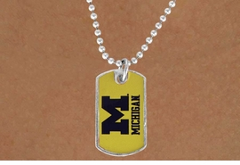 "<Br>               LEAD & NICKEL FREE!!<Br>         STERLING SILVER PLATED!!<bR> W17092N - LICENSED UNIVERSITY<Br>OF MICHIGAN ""WOLVERINES"" DOG<Br>        TAG LOGO NECKLACE FROM<Br>                     $3.94 TO $8.75"