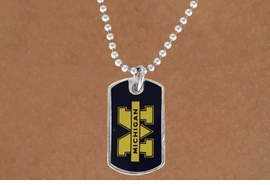 "<Br>               LEAD & NICKEL FREE!!<Br>         STERLING SILVER PLATED!!<bR> W17094N - LICENSED UNIVERSITY<Br>OF MICHIGAN ""WOLVERINES"" DOG<Br>        TAG LOGO NECKLACE FROM<BR>                      $3.94 TO $8.75"