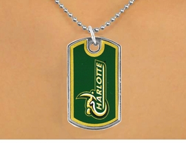 "<Br>                LEAD & NICKEL FREE!!<Br>          STERLING SILVER PLATED!!<bR>   W17105N - LICENSED UNIVERSITY<Br>OF NORTH CAROLINA AT CHARLOTTE<Br>         ""FORTY-NINERS"" DOG TAG<br>    NECKLACE FROM $3.94 TO $8.75"