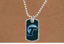 "<Br>                   LEAD & NICKEL FREE!!<Br>             STERLING SILVER PLATED!!<bR>W19148N - LICENSED TULANE UNIVERSITY<Br>   ""GREEN WAVE"" LOGO DOG TAG<br>        NECKLACE FROM $3.35 TO $7.50"