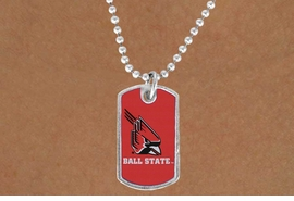 "<Br>               LEAD & NICKEL FREE!!<Br>         STERLING SILVER PLATED!! <bR>W19568N - LICENSED BALL STATE <Br>UNIVERSITY  ""CARDINALS"" DOG TAG<br>    NECKLACE FROM $3.94 TO $8.75"