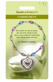 "<Br>               LEAD & NICKEL FREE!!<Br>        SYMBOLS OF INSPIRATION!!<Br>W15339B - ""COMMITMENT"" HEART<Br>& MULTI COLOR BEADED BRACELET<Br>    WITH GIFT CARD AND ENVELOPE<Br>                   AS LOW AS $8.47"