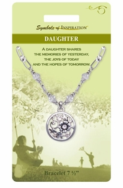 "<Br>             LEAD & NICKEL FREE!!<Br>     SYMBOLS OF INSPIRATION!!<Br>W15341B - ""DAUGHTER"" FLORAL<Br> MEDALLION AND CLEAR BEADED<Br> BRACELET WITH GIFT CARD AND<Br>      ENVELOPE AS LOW AS $6.97"