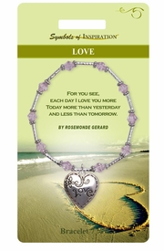 "<Br>            LEAD & NICKEL FREE!!<Br>    SYMBOLS OF INSPIRATION!!<Br>W15354B - ""LOVE"" HEART DROP<Br>BRACELET WITH GIFT CARD AND<Br>    ENVELOPE AS LOW AS $8.47"