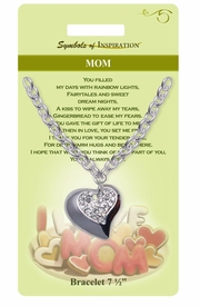 "<Br>               LEAD & NICKEL FREE!!<Br>       SYMBOLS OF INSPIRATION!!<Br>   W15356B - AUSTRIAN CRYSTAL<Br>""MOM"" HEART CHARM BRACELET<Br>  WITH GIFT CARD AND ENVELOPE<Br>                   AS LOW AS $6.47"